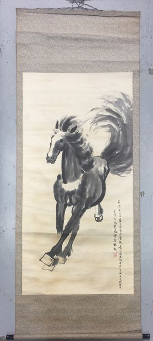 Hand-painted ink scroll painting, made after Xu Beihong - China - late 20th century