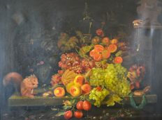 Unknown. (20th century) A still life of fruit, bird and squirrel.