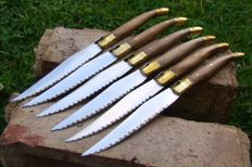 Set of 6 Laguiole Knives / Kitchen Knives TOP! 801