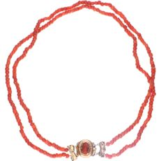 14 kt - Yellow gold two-strand precious coral necklace - Length: 40 cm