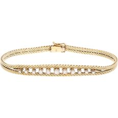 14 kt yellow gold foxtail link bracelet set with 11 brilliant cut diamonds of in total approx. 0.38 ct. Has a box clasp with 2 safety catches - Length: 18.6 cm