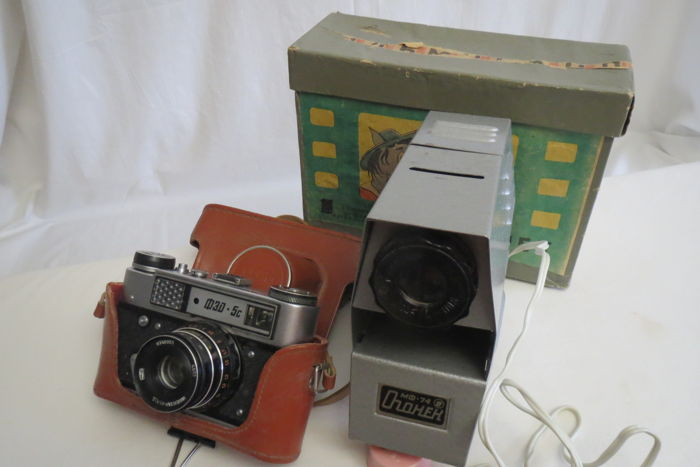 """The rarest model! Limited edition. FED-5C One of the first issues.of The USSR  1977 - 1990 FED (Kharkiv).As a gift Filmoscope """"Ogonyok"""""""