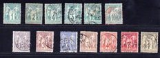 France 1878/1900 –  Complete series of 13 stamps Type Sage N under B – Yvert 61 to 72