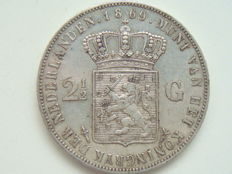 Netherlands – 2½ guilder 1869, Willem III – silver