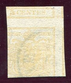 Lombardy–Venetia 1850 - 5 cent., yellow ochre, with double-sided printing with reversed counterprinting - Sass. No. 13