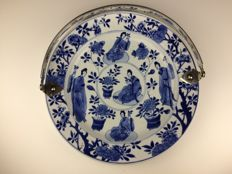 Large porcelain plate with silver handle - China - 18th century (Kangxi period)