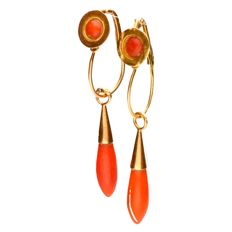 Vintage precious coral dangle earrings - Yellow gold