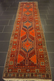 Old Persian carpet Sarab 90 x 320cm, natural colours, made in Iran