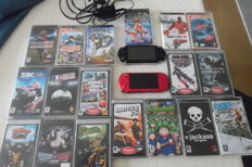 Lot of 2 PSP consoles color Red and Black incl charger and 18 games