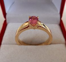 0.72 ct IGE Certified Natural Pink Sapphire with Eye Clean Clarity in New Handmade Ring of  14K Solid Yellow Gold  -  Ring Size: 17.5/55/7.5 (US)