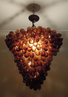 Large Murano style mouth blown grapes hanging lamp, Italy, 2nd half of 20th century