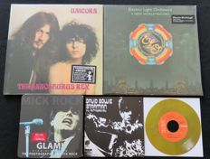 T-Rex / ELO / Roxy Music / David Bowie: Great lot of 70's (Glam)Rock: 3LP's / 7inch / 7inch single in collectible tin can + photobook