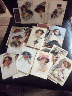 Artist signed Harrison Fisher Philip Boileau and others around 1920, 60 vintage postcards x
