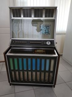 Rockola Jukebox 1960s - Model 443 including 40 singles + box with around 50 singles from the 1960s