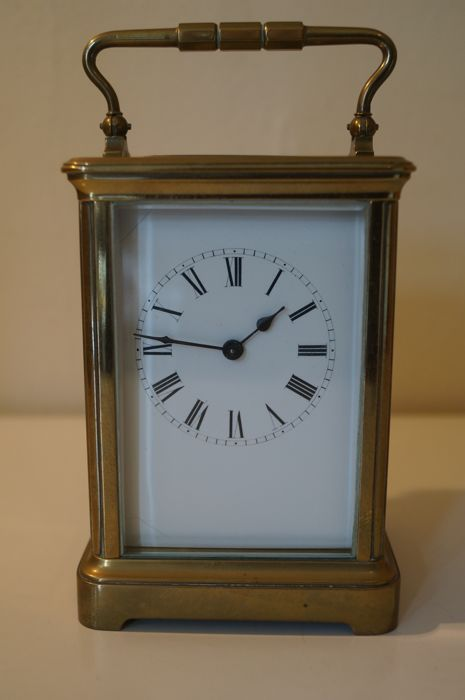 Brass cased French carriage clock - around 1900