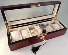 Very luxurious, durable, solid cherry wood, elegant watch box for 6 watches, with lock.