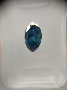 0.71 ct Marquise cut diamond Fancy Dark Greenish Blue I1