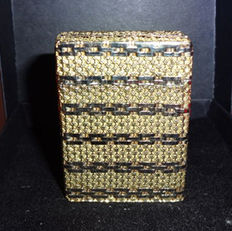 S.t. Dupont Lighter 750 18K Gold Basket Wave Design in White and Yellow 18K Gold Vintage