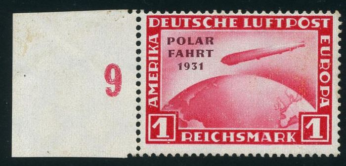 German Reich - 1931 - flight to the north pole, Graf Zeppelin 1 RM with printing error (hyphen after 'polar' is missing), Michel 456 I