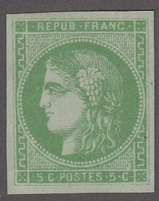 France - 5 c green, signed 2 times including Calves - Yvert 42b