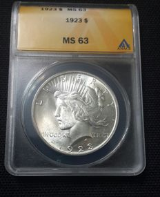 United States - 1 Dollar 1923 'Peace' - silver