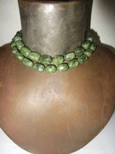 old Jade  green necklace, ca. beginning  of the 20th Century, ca. 260 grams