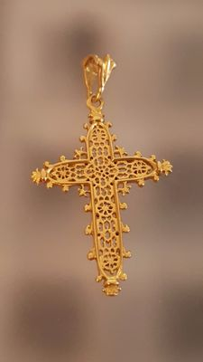 18 kt gold pendant Cross of Estaing – 30 mm.