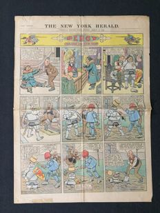 "5 Original Comic Strip Sections From New York Herald Newspaper - Percy ""Brains He Has Nix"" And Mr. Twee Deedle - (1912)"