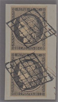 France - 20 c grey-black on grid-cancelled piece in a pair - signed Yvert 3
