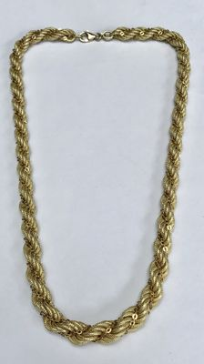 Thick gold cord necklace with link necklace intertwined. Length 45 cm, thickness approx. 7 mm