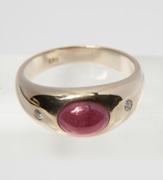 Unisex Solitaire Ring with 3CT Ruby & Diamond of c. 0.12 Ct  14 K Gold RS : 60 / 19mm ∅ /US 9