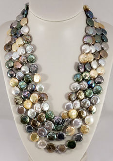 Cultured pearl necklace, coin-shaped, multicoloured, diameter: 11.5 - 13.5 mm from Southeast Asia - endless necklace, extra long, approx. 248 cm -