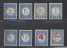 The Netherlands 1894/1910 - Selection of postage due - NVPH P13, P15, P16a, P17, P20, P23 and P29/P30