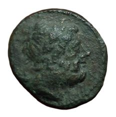 The Greek Antiquity - Calabria, Graxa c. 210-150 BC - Æ Quadrans (Bronze, 16mm; 3,28g.) - Head of Zeus / Two eagles - HN Italy 779; SNG ANS 804-6 - rare