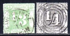 Thurn & Taxis - 1865 - 1/4 Sgr and 1/3 Sgr. With colourless penetration, Michel 35 & 36
