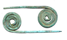 Pair of Bronze Age Coiled Cloth Pins - 80-87mm