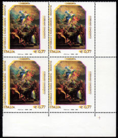 Italy 2003 – Giaquinto with considerable variety, unclassified, in a block of four