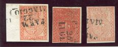 Parma 1853/1855 - 15 cents, lot of three stamps in three different shades - Sass. No.  7, 7a, 7b