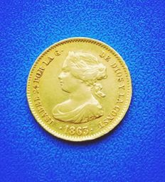 Spain - 40 gold Reales Isabel II 1863 Madrid.