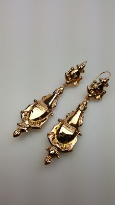 Antique gold dangle earrings - regional jewellery - 1850/1870