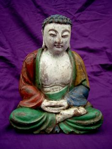 Wooden Buddha, polychromed. Original paint – China – ca. 1930