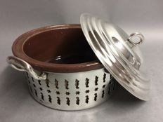 Silver plated holder with earthenware dish to make pâté with, ca. 1950