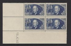 France 1939 - Celemet Ader - Yvert 398 in block of 4 with Coindate.