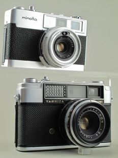 """Minolta AL-F """"Easy Flash"""" and Yashica Minister."""
