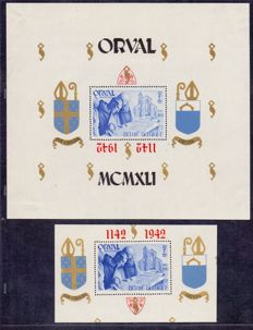 Belgium 1942 – Large Orval block with inverted print and small Orval block with cutting failure