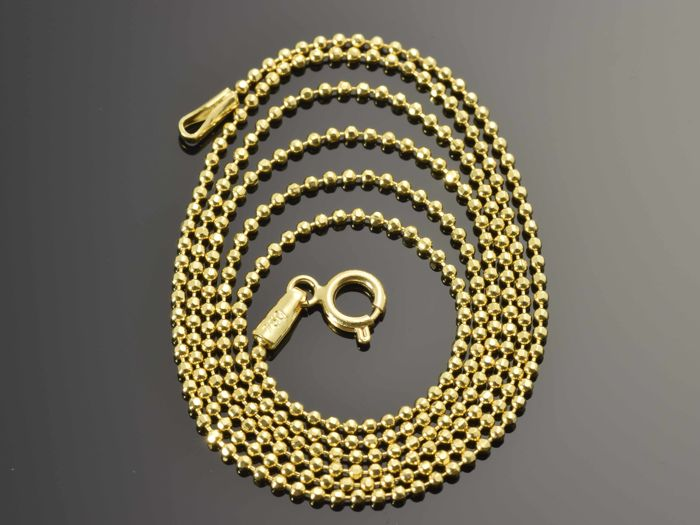 "18k Gold Necklace. Chain ""Bead"" - 49.5 cm"