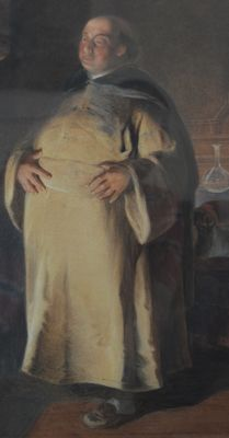 "Unknown (19th Century European School) - ""Monk in a Church Interior"""