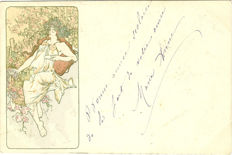 "Alfons Mucha (1860-1939): an old postcard from the series ""the seasons"" (autumn) (around 1900)"