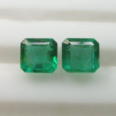 Emerald Pair - 2.45 Ct - No Reserve Price