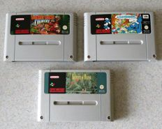 3 Super nes games. Secret of Mana - Donkey Kong and Schroumpfs.